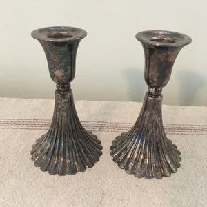 Vintage Silver Plated Pair Candlestick Holders